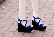 Sex 2014 Women and Ladies Super High Platform Wedge Cross Strappy Sandal Girls Buckle Strap Peep Toe Cross Strappy Sandal