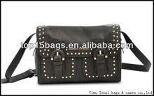 black studded trims double pocket young girls satchel bag