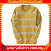 OEM comfortable cheap long sleeve v-neck polyester bulk stripe men dry fit t-shirt
