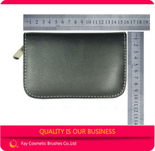 High quality cosmetic brush case with black leather pouch