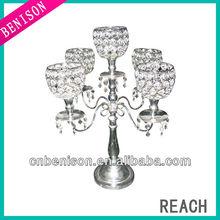 Elegant 5 arms crystal wedding decorations for tealight table decoration wholesaler like