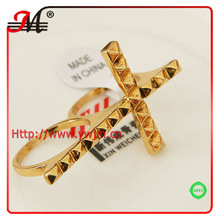 R35298-2-2 Goldplating big cross two finger rings fashion jewelry