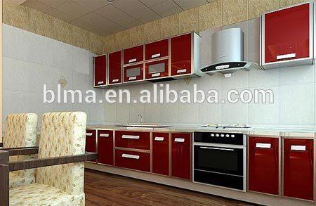 nuevo modelo de fibra de vidrio del gabinete de cocina de color negro