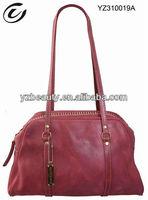 Genuine leather long handle bamboo handbags