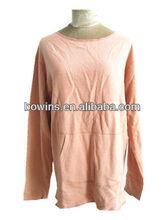 round neck long sleeve hemp cotton terry tee