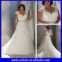 WE-1832 Stunning sheer lace cap sleeves elegant wedding dresses for fat woman big boobs wedding dress fat woman