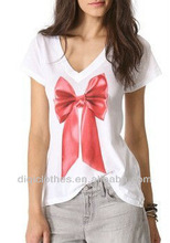 Women Cotton T-Shirt with Bowknot Designs on it Summer T shirt