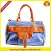 2013 fashion blue stape big size women travel bag