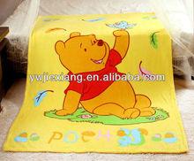 polyester cartoon bear printing kids fleece blanket coral baby bed sheet