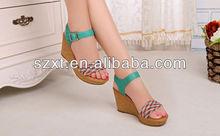 Hot design hand knitting wedge high heel custom wholesale shoes/ custom made high heel shoes