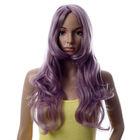 long purple hair wig with long bang