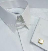 Men's high fashion white tab collar non-iron dress shirt with double cuffs