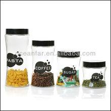 Grace glass storage jar set with deco