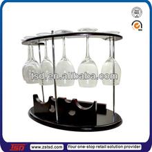 elegent hanging wooden wine glass rack