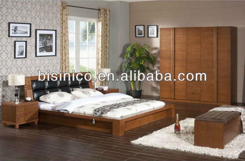 Contemporain chambre en bois massif lit de stockage bois - Set de chambre bois massif ...