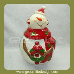 Ceramic snowman Christmas candy jar
