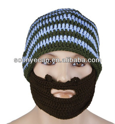 Wacky Beard Men Boy Beanie Mask Face Warmer Warm Knit Crocheted Ski Hat