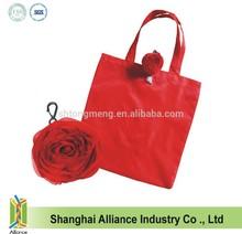 Polyester Rose Shape Custom Folding Tote Bag / Rose Shopper / Rose Shopping Bag