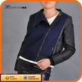 negro de la moda de la pu de cuero para las chaquetas de las mujeres