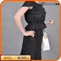 venta caliente negro elegante laides con olanes jóvenes trajes de mujer