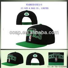 hot green & black basketball flat peak cap, custom 3D embroidery snapback baseball cap