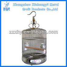 New Handmade Stainless Steel Round Parrot Bird Cage With Ceramic Feeder
