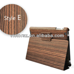 2013 fast selling Wood Grain Leather Skin with Kickstand for iPad Mini cases and covers
