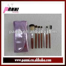 Purple case 7 pcs nylon hair cosmetic brusher kit makeup brush leather case