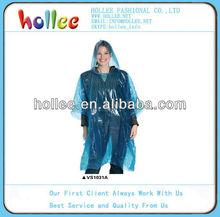 blue pe disposable rain poncho