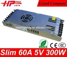AC DC power supply 5v CE RoHS constant voltage single output slim 5v power supply 300W 60A 5V ac/dc power supply
