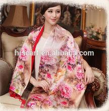 2014 Latest fashion style Chinese long 100% silk scarf