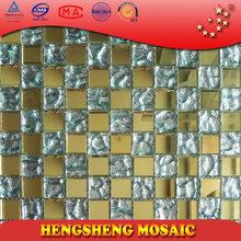 golden and silver manufacturer KTV shinning mirror glass tile mosaic HM10
