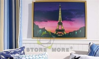 Eiffel Tower MDF Optical Fibers Led Wall Art Oil Painting Home Decoration