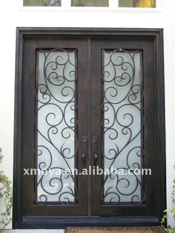Metal vidrio puertas dobles de entrada puertas - Puertas de entrada con cristal ...