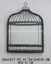 Nice and special birdcage design metal wall decorative mirror