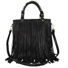 Punk Double Side Tassel Fringe Lady Cowgirl Fashion PU Leather Handbag Shoulder Bag 1315