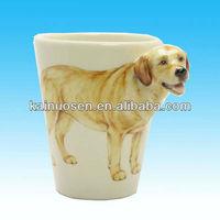 hotsale novelty 3D Labrador Retriever dog handle gift ceramic mug