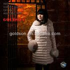 2015 Fashion Women Winter Pink Warm Long Down Coat with Real Big Fox Fur and 100% Nylon