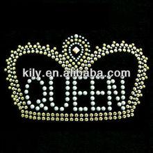 YE-1156 queen crown for fabric iron on rhinestone design