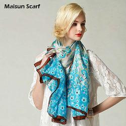 2015 Real silk printed flower designer silk scarves women China