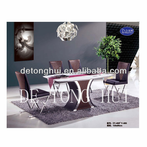 hot sale white man made marble dining table and chair CT-805# Y-605#