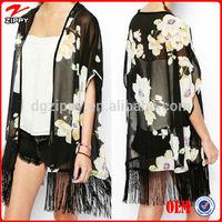 2015 Hot selling beach wear / swim wear printed chiffon blouse designs chiffon blouse chiffon cardigan