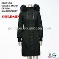 Italia 2015 diseño de marca para mujer de largo hacia abajo chaqueta con real de piel de mapache& oem tipo de servicio