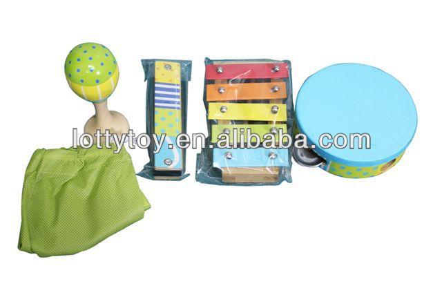 Bebek ahşap oyuncak müzik aletleri davul setleri