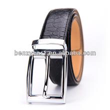 Hot Selling European Style Steel Buckle Crocodile Grain Leather Mens Waist Belts