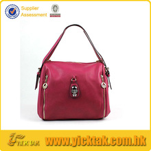 Metal Skull Decorated Leather Women's Bag
