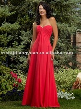 2015 new red sweetheart ankle length low price chiffon sexy long bridesmaid dress