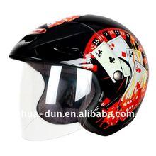 Huadun black DOT Open Face Helmet, high clear visor, HD-50H