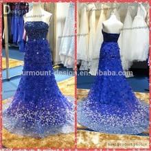 New Luxury Strapless Royal Blue Elie Saab Wedding Dress 2015
