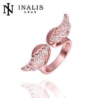 Hot sale adjustable 18k rose gold angel wing ring